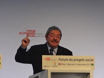L'ancien président brésilien Lula au Forum du Progrès Social le 12/12/12