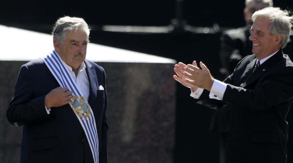 José Mujica et Tabaré Vazquez le 1er mars 2015